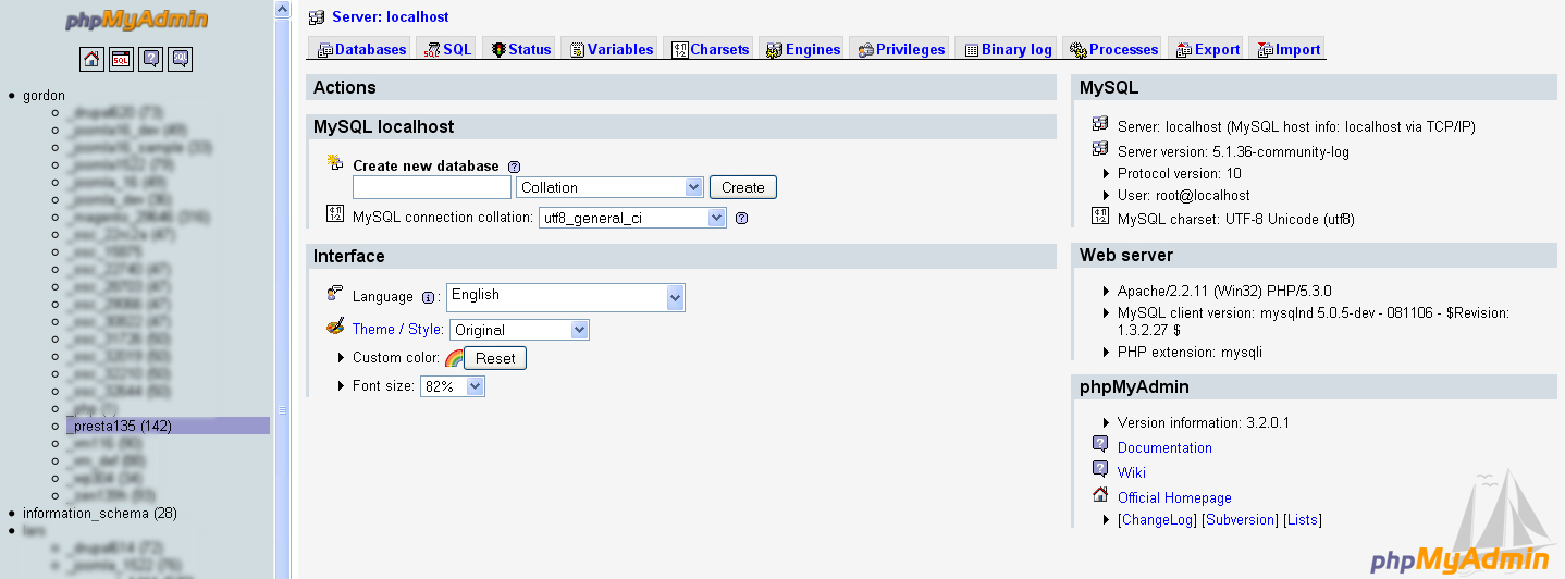 Hosting Control Panel and open PHPMyAdmin tool