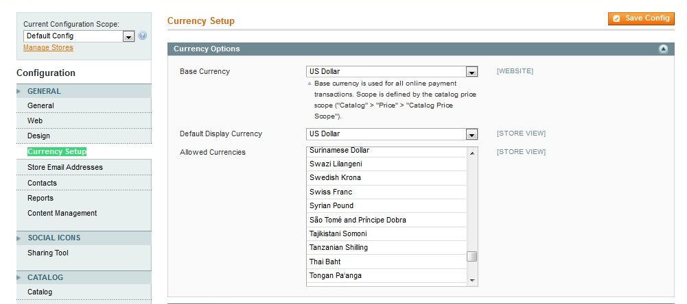 Magento Currency Setup