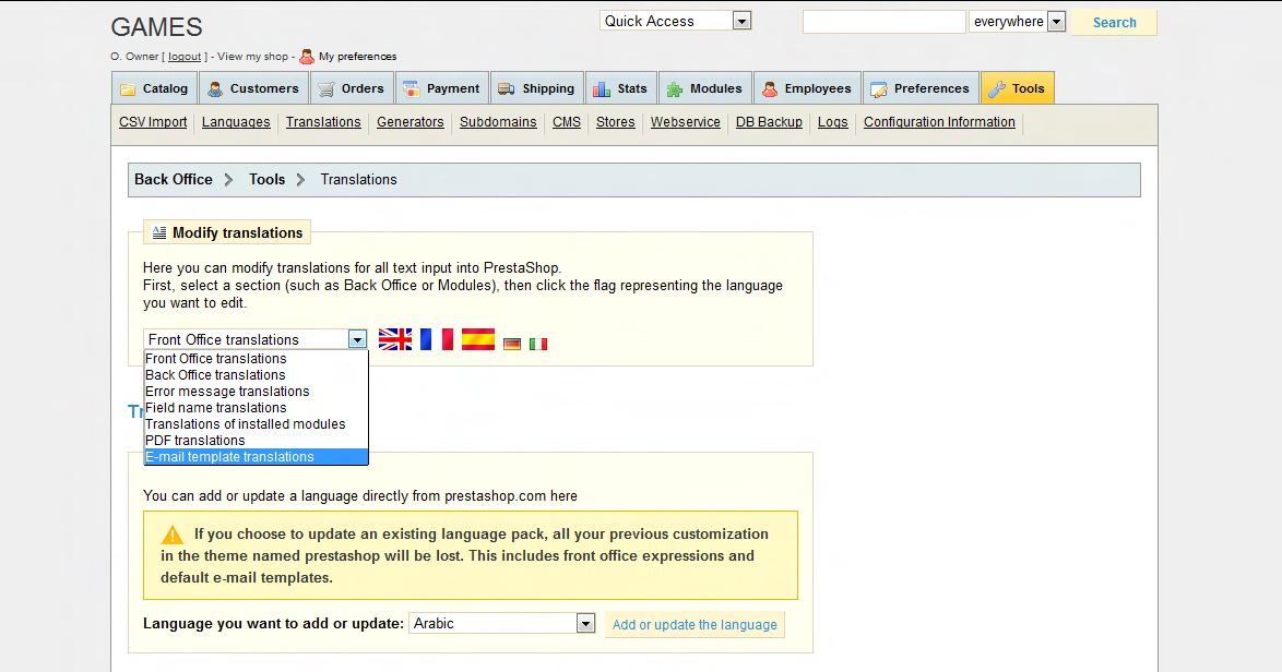 Prestashop Admin menu Tools - Translations