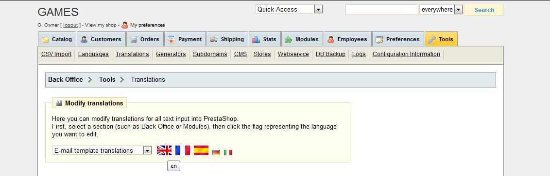 Prestashop Tools - Translations