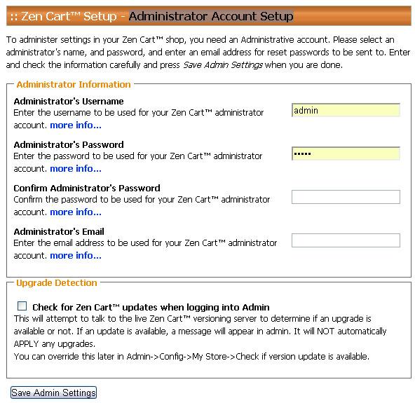Administrator Account Setup
