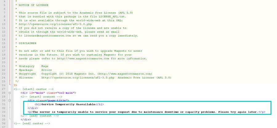 Modify Content of Maintenance Page you Should Edit