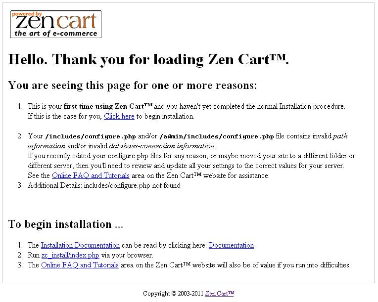 Zen Cart installation process