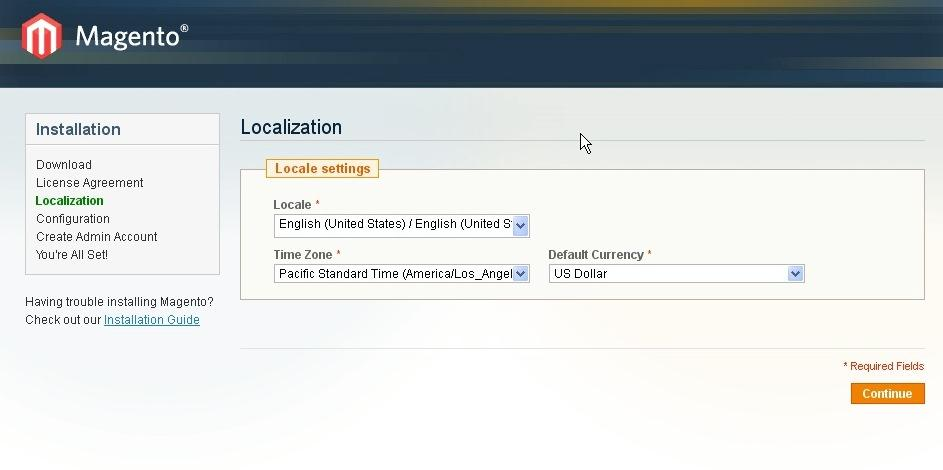 Magento Localization Page