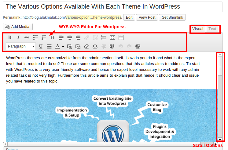 Overview of the WYSIWYG editor