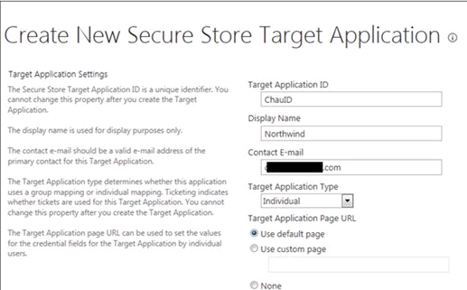 Create New Secure Store Target Application