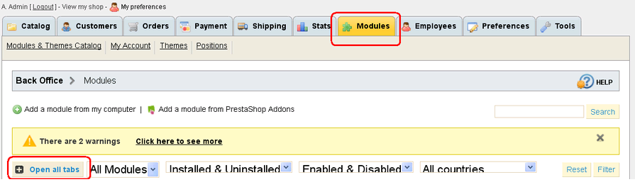 Login to your admin panel and navigate to the modules tab