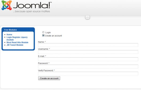 Login module in joomla