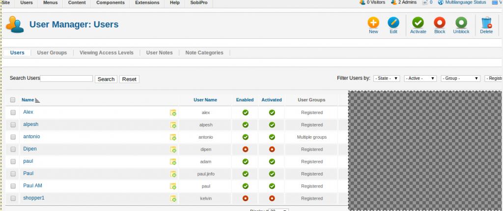 Managing user permissions in Joomla