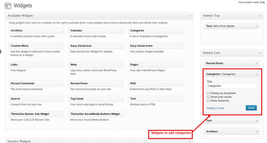 Manage widgets in wordpress