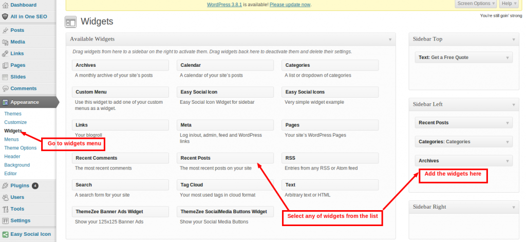 Add widgets to wordpress website