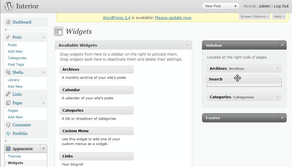 Widgets Sidebars