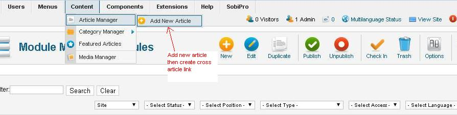 Cross Article links in Joomla
