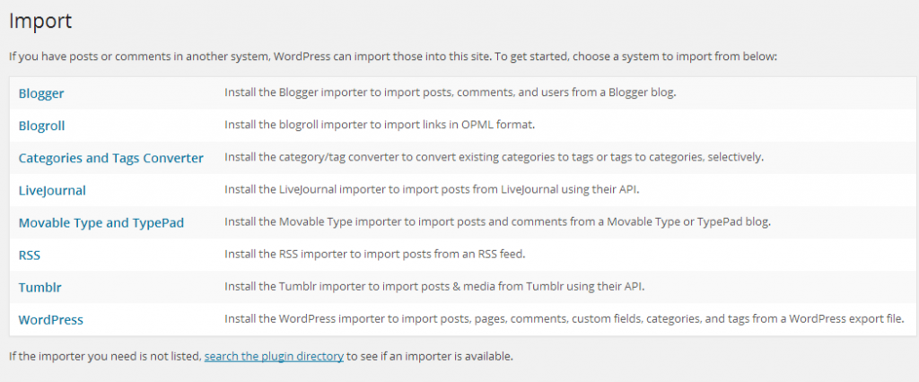WordPress import tool