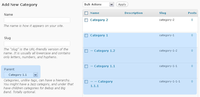 Creating Nested Categories In WordPress